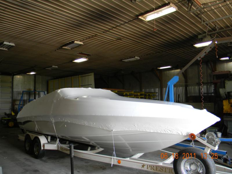 Boat wrapped for transport