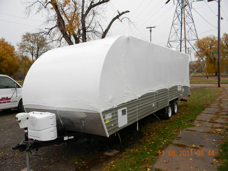 Travel Trailer wrapped for seasonal storage