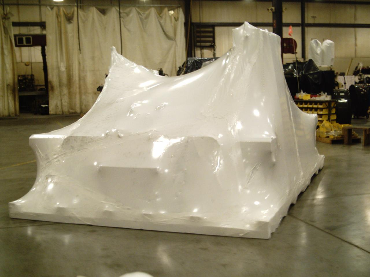 Industrial machine wrapped for shipment
